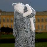 Marbre naturel en main en pierre sculptée dame de l'eau des fontaines décoratives de jardin
