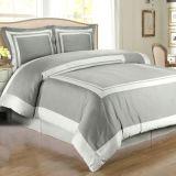 白およびTaupe Hotel Duvet Comforter Cover 6PCS Bedding Set (DPFB8086)