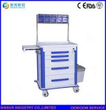 医学の麻酔のカートのトロリーに鋼鉄吹きかける中国の供給の病院の家具の緊急事態