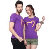 T-shirt redondo por atacado da impressão da tela do algodão da garganta do OEM