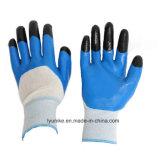 Укрепление пальцев 13G нейлон нитриловые перчатки работы резины с покрытием