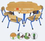 Alta calidad de mobiliario escolar de niños estudiante Silla de madera con mesa de jardín de infantes