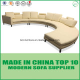 Ocio Muebles de Salón modular conjunto sofá de cuero redondo de madera