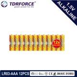 accumulatore alcalino asciutto primario 1.5volt con Ce/ISO 12PCS/Pack 5 anni di durata a magazzino (LR03/AM-4/AAA)