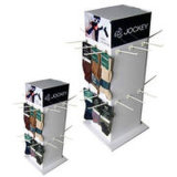 4-сторонняя вращается картон кухонном столе дисплей с крюками для подарков, картон дисплея PDQ OEM/ODM