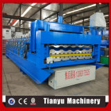 Rodillo esmaltado del azulejo que forma la máquina con el rectángulo de control del PLC