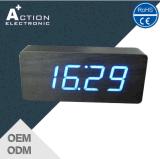 경보를 가진 최신 판매 LED 나무로 되는 침대 곁 시계