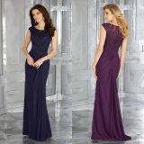 Laço do vestido da matriz e vestido de noite do azul de marinha das senhoras do Chiffon
