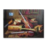 ホーム装飾のための古典的な楽器のギターの油絵