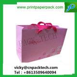 Mode de luxe personnalisé cadeau Rose Sac de papier recyclable avec ruban de couleur