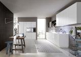 現代カスタマイズされた自然なベニヤおよび光沢度の高く白い食器棚Blk42