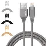2.1A trenzado Nylon rápida USB cable de datos para el Rayo Ios de iPhone (negro)