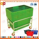 Supermarché de portable en plastique coloré Panier avec poignée de roues (Zhb83)