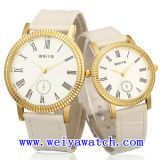 Reloj ocasional de la promoción del reloj del cuero de la aleación con unisex (WY-1083GB)
