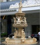Fontein van het Water van het Beeldhouwwerk van de Steen van White&Beige de Marmeren Natuurlijke voor de Decoratie van de Omgeving van de Tuin