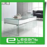 Mesa de centro de vidro curvada com base do MDF