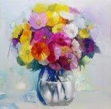 100%のハンドメイドの美の花のキャンバスの油絵