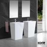 Lavabo rond extérieur solide de salle de bains petit