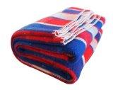 ウールは南育てられたタンのクリーム色の縞のウール毛布を投げる