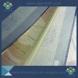 Impression colorée de certificat de papier de filigrane
