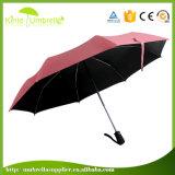 O mini guarda-chuva pequeno de 3 dobras com automático abre e fecha o punho