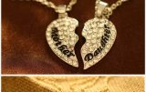 إمرأة 2 حاسوب أمّ & ابنة مدلّاة عقد [رهوديوم/] نوع ذهب يصفّى [ولّ فريند] [بروكن هرت] 925 فضة عقد مجوهرات