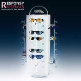 Le modèle créateur tournent lunettes de soleil la crémaillère d'étalage acrylique blanche de 4 de côtés à extrémité élevé