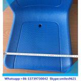 Blauer Zwei-Sitz mit ledernem Deckel-Kissen