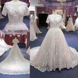 Изготовленный на заказ тяжелый отбортовывая поезд платья венчания мантии кристаллический шарика длинний