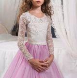 Сиреневая тюль девочек Prom Gowns кружева этапе производительность Свадебный букет девушка платья B1278