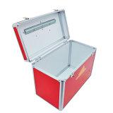 Коробка алюминиевого красного цвета малая и портативная ручки конструкции вотума