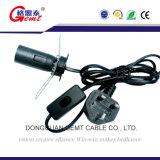 UK шнур питания светильника соли держателя стандарта E14 с включено-выключено переключателем