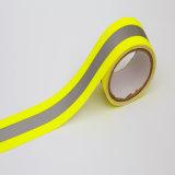 Jaune Orange polyester Tissu d'avertissement de matériau réfléchissant pour la sécurité de bande