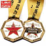 卸し売りカスタム幸運で旧式な古代金の銀はリボンが付いている鋳造物3Dの星の形賞の金属メダルを停止する