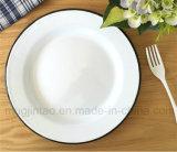 Плита изготовленный на заказ черной эмали оправы круглая, плита эмали Tableware сь