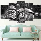 HD напечатало декор комнаты печати холстины картины Balck Bike мотоцикла искусствоа холстины части 5 белый