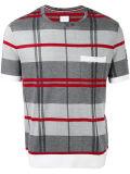 Les hommes est gris et rouge Vérifier tricot de coton T-Shirt