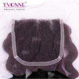 Arricciatura italiana del Virgin di Yvonne di Remy dei capelli umani del merletto della chiusura brasiliana all'ingrosso della parte superiore