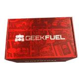 Красный коробку из гофрированного картона с белыми логотип