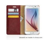 La qualité conçoivent la caisse en cuir d'unité centrale de chiquenaude de luxe pour le cas de couverture de téléphone portable de pochette de Samsung J2