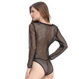 Femme Bedwear Deep V Sexy teddy sous-vêtements pour la nuit de l'usure de la gaze lingerie sexy nuisette Sexy Hot dentelle Lingerie transparente