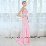 V kleidet Stutzen-lange Brautjunfer reizvolles Sleeveless Hochzeitsfest-Kleid