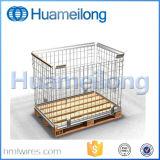 Штабелировать клетку провода с деревянным контейнером ячеистой сети паллета