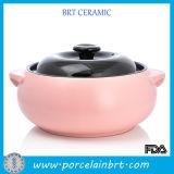 Vajilla de cocina de color de caramelo Olla de sopa de cerámica con tapa negra