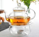 Clear Glass Round Shape Warmer Base para chá Coffee Pot Flower Teapot