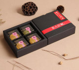 Venda por atacado 4 blocos da caixa preta de Mooncake do cartão, tipo caixa da gaveta de Mooncake, fornecedor da caixa de presente