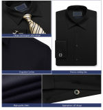 Casual Slim Fit camisa formal, Hombre camisa negra de oficina