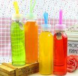 Frasco de vidro portátil por atacado de água, recipiente de vidro do licor, empacotamento bebendo
