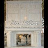 Mensola del camino bianca superiore di Carrara per la decorazione domestica Mfp-176