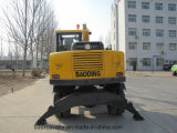 China amarillo 0.3m3 Bucketsmall ruedas New excavadora con brazo largo